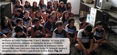 Alunos da Escola Sesc de Linhares visitam as instalações do jornal O Pioneiro