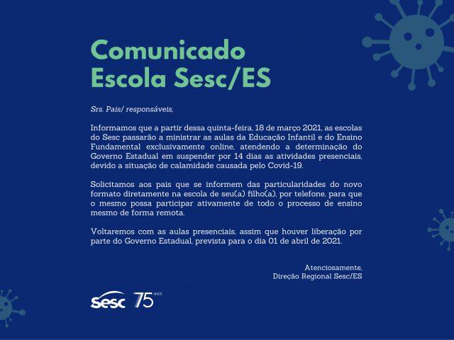 Comunicado Escola Sesc/ES
